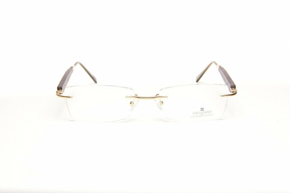 6687b9acaee Details about GOLD AND WOOD RIMLESS EYEGLASSES GLASSES SUNGLASSES  204F