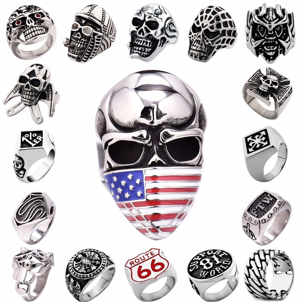 Men 39 s 316l silver stainless steel cool motorcycle rings for Biker jewelry stainless steel
