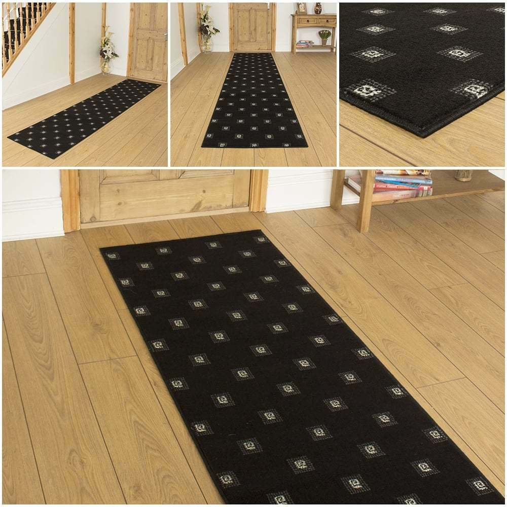 square black hallway carpet runner rug mat for hall extra very long cheap new ebay. Black Bedroom Furniture Sets. Home Design Ideas