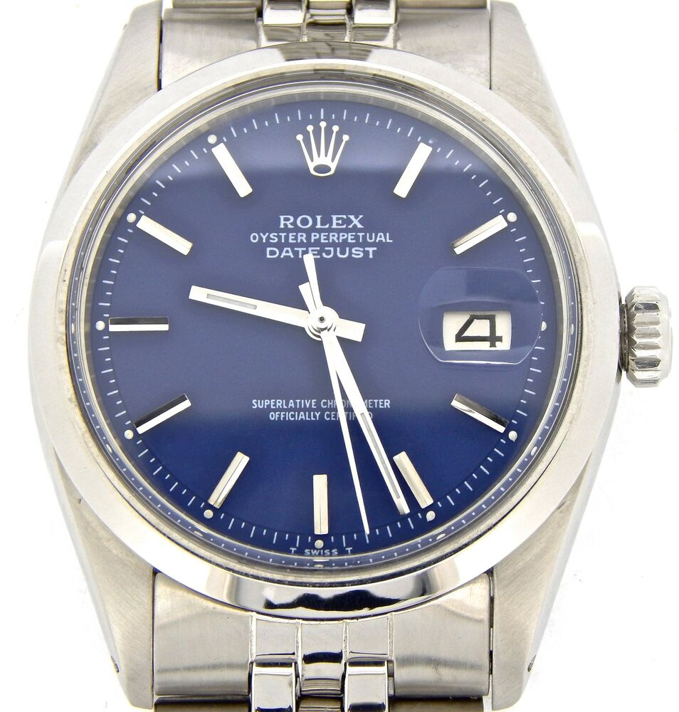 Rolex datejust mens stainless steel watch with blue dial original jubilee band 717449283160 ebay for Jubilee watch