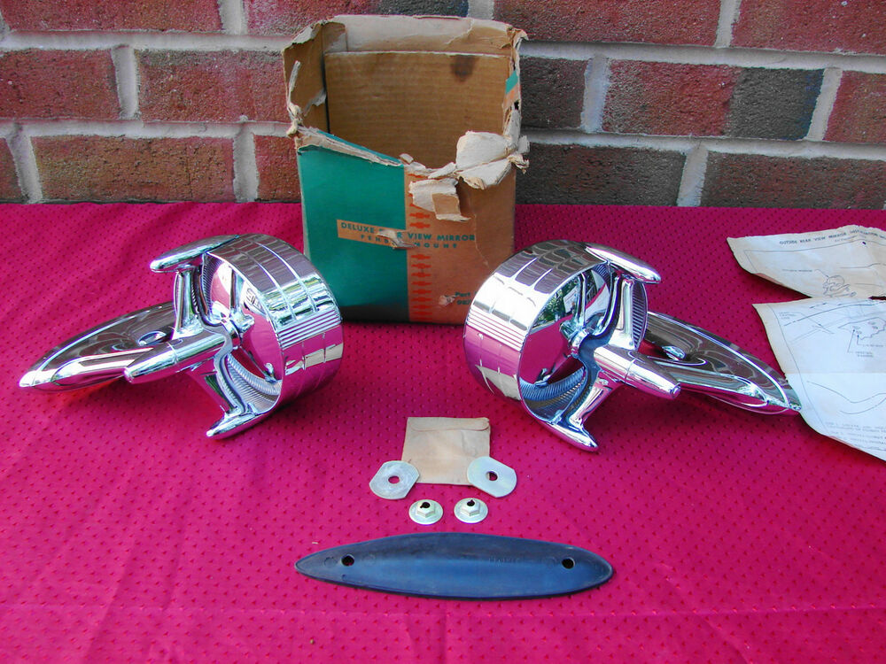 58 Chevrolet Impala Nos Accessory Halo Chrome Mirrors Gm