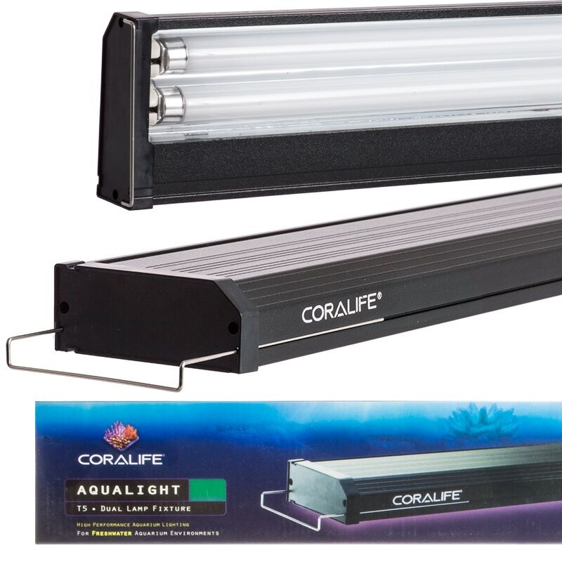 coralife aqualight t5 dual fluorescent light fixture for freshwater aquarium ebay. Black Bedroom Furniture Sets. Home Design Ideas