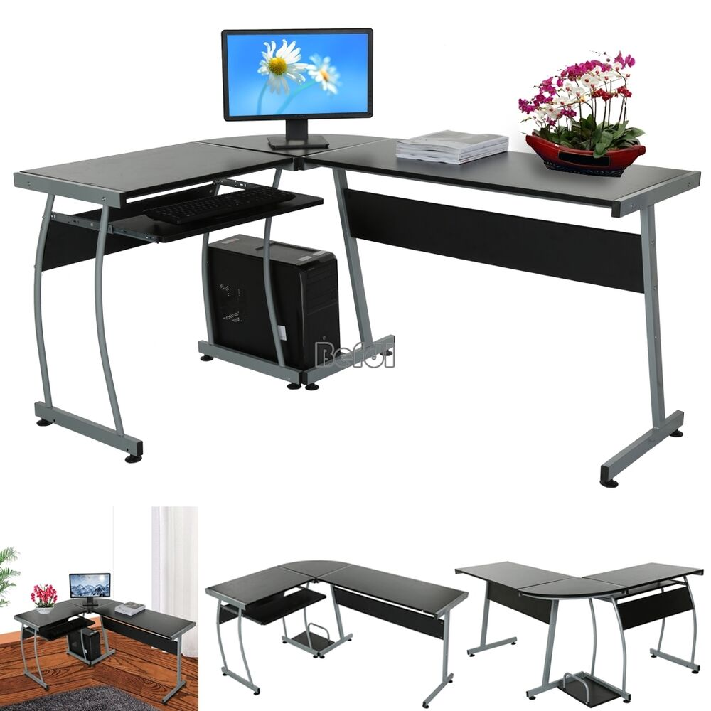L Shape Corner Black Computer Pc Desk Table Workstation Home Office Furniture Ebay
