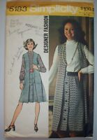 1972 dress with long vest designer fashion Simplicity pattern 5183 size 10