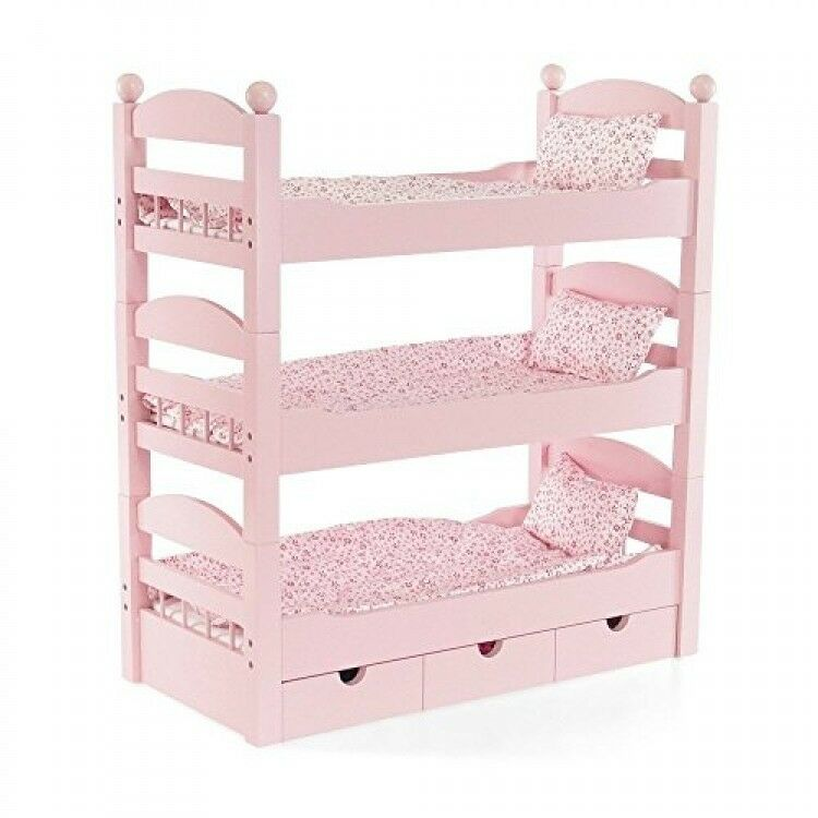 Bunk Bed Dolls: 18 Inch Doll Triple Bunk Bed Stackable Wooden Furniture