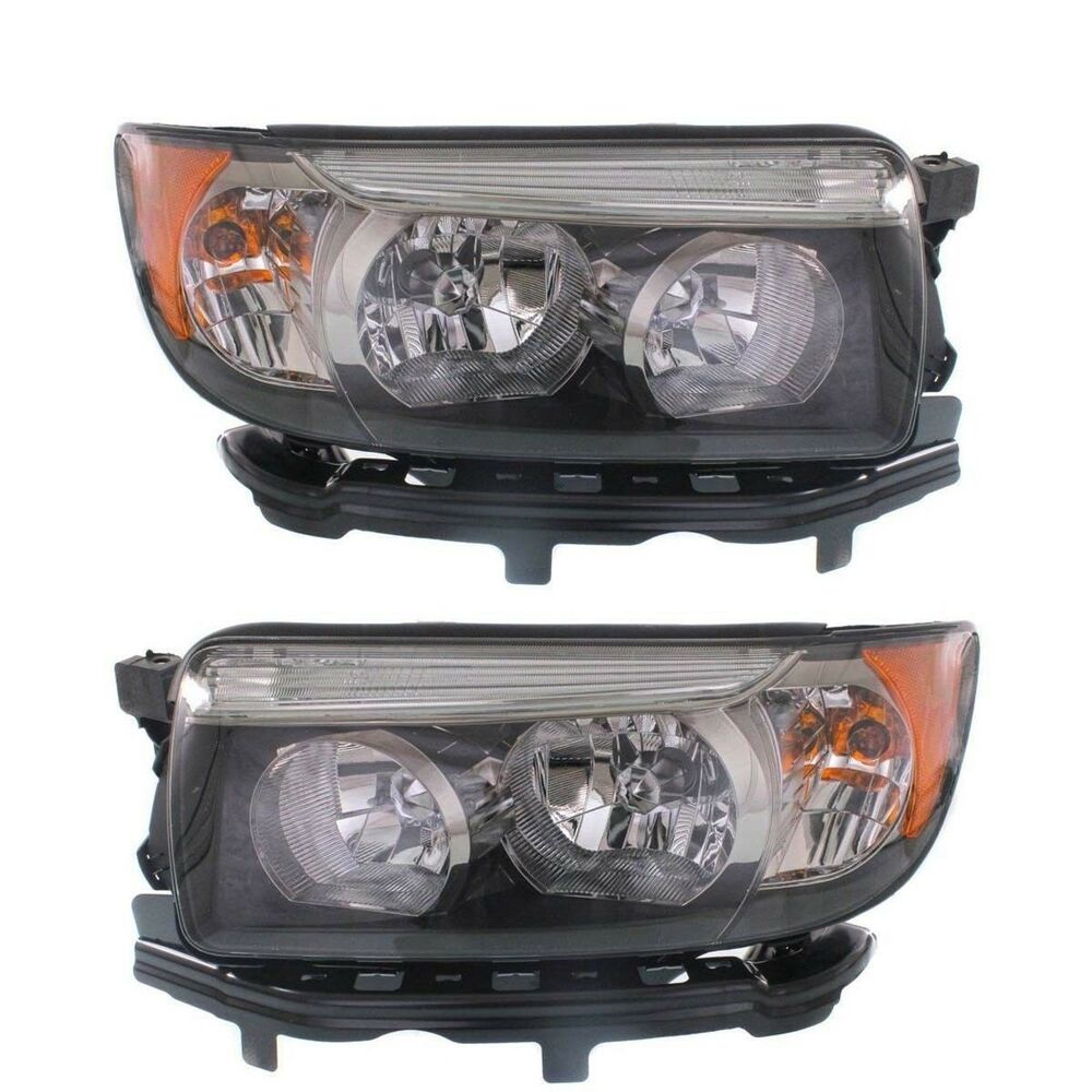 Details About Subaru Forester 2006 2008 Black Sport Headlights Head Lights Front Lamps Pair