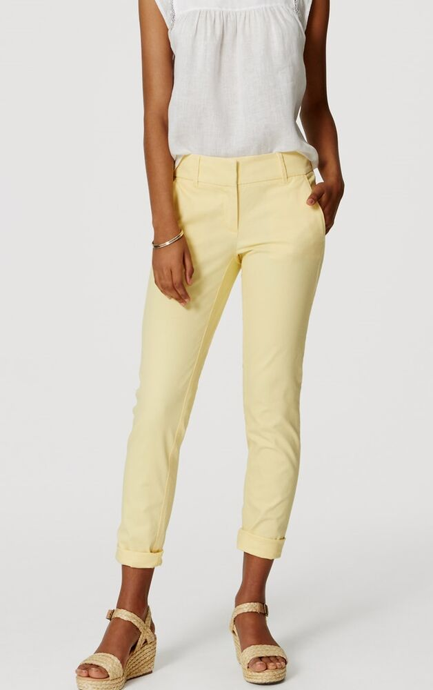 Ann Taylor Loft Cropped Skinny Chinos Pants In Marisa Fit