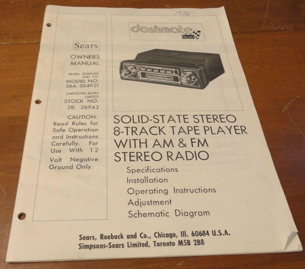 Vintage Sears Dashmate Car Stereo 8 Track Player Owners Manual Model 564  504921 | eBay