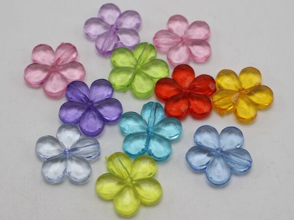 50 Mixed Colour Transparent Acrylic Faceted Flower Beads 20mm(0.78