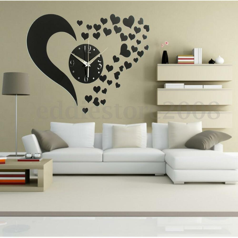 Diy 3d black love sticker home modern mirror wall clock - Modern wall decor for living room ...