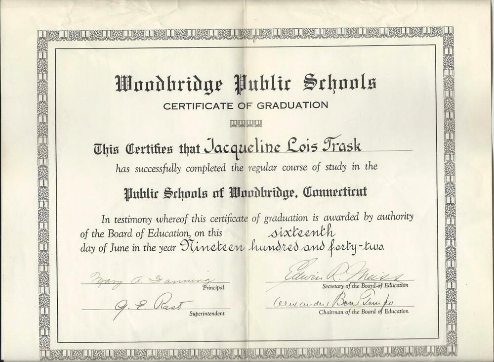 1942 Woodbridge Connecticut Public School Certificate Of Graduation