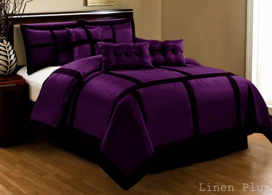 15 Piece Purple Black Patchwork Comforter Curtain Set