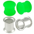 0g 0 gauge 8mm Green Double Flare Ear Plug Tunnel expander stretcher kit 9QCA