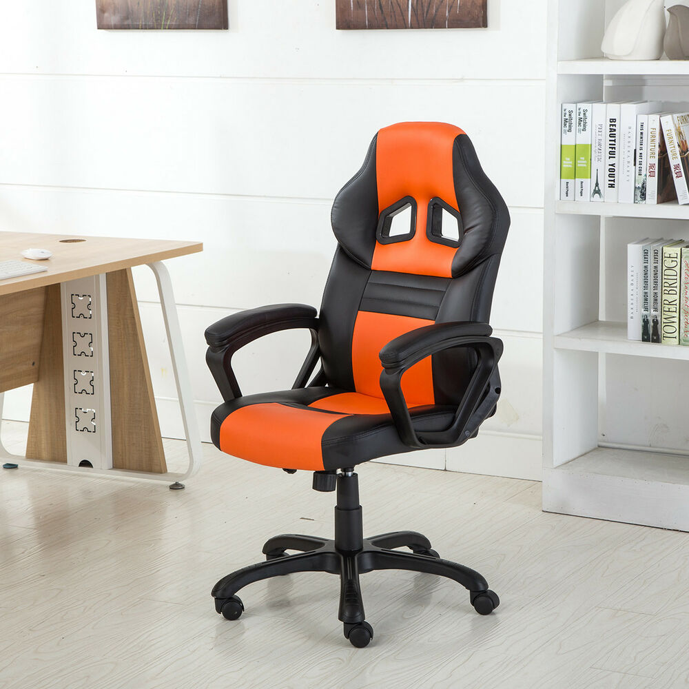 stylish desk chairs racing style office chair ergonomic pu leather swivel seat 26920
