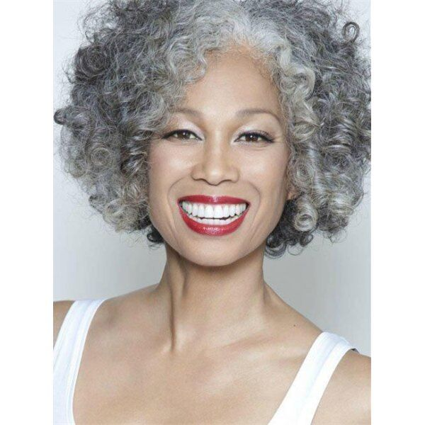 Gracefully Short Afro Curly Grey Silver Women S Synthetic