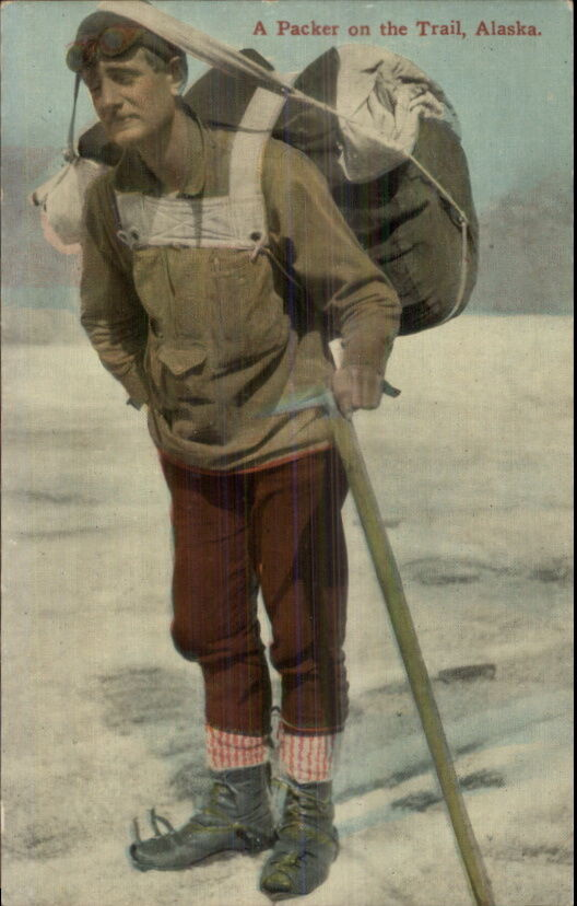 Hiker Hiking in Alaska Early 1900s Gear Shoes Pack Ice ...