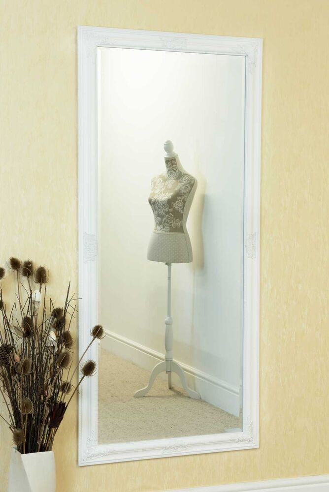Large white full length wall mounted mirror 5ft3 x 2ft5 for White full length wall mirror