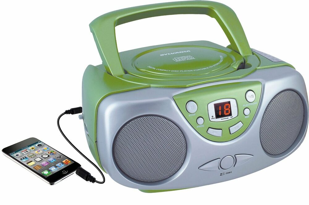 sylvania srcd243 portable cd player with am fm radio boombox green new ebay. Black Bedroom Furniture Sets. Home Design Ideas