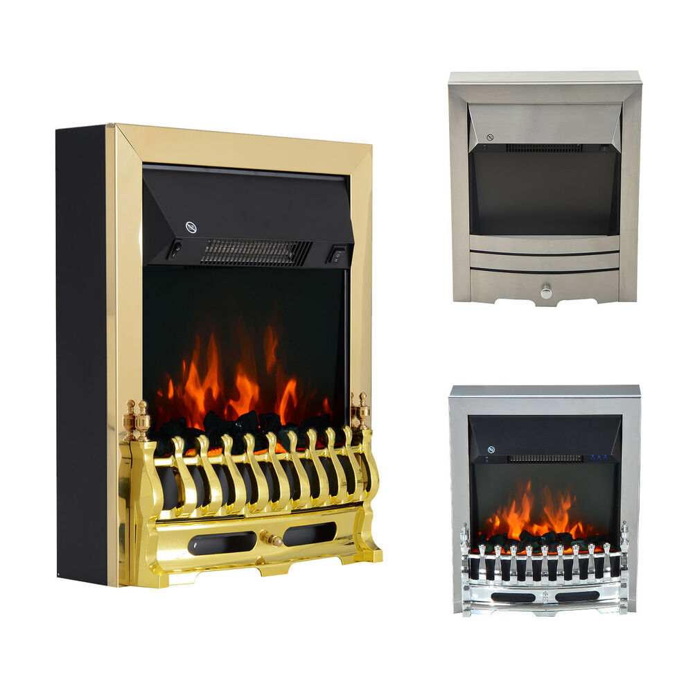 Modern Electric Fireplace 1 2kw Led Fire Place Effect Heater Fire Flame Stove Ebay