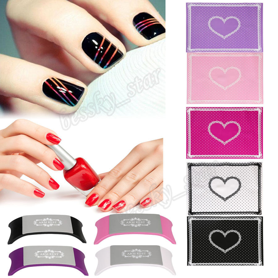 silicon removable lace heart nail art table mat pad pillow manicure clean tool ebay. Black Bedroom Furniture Sets. Home Design Ideas