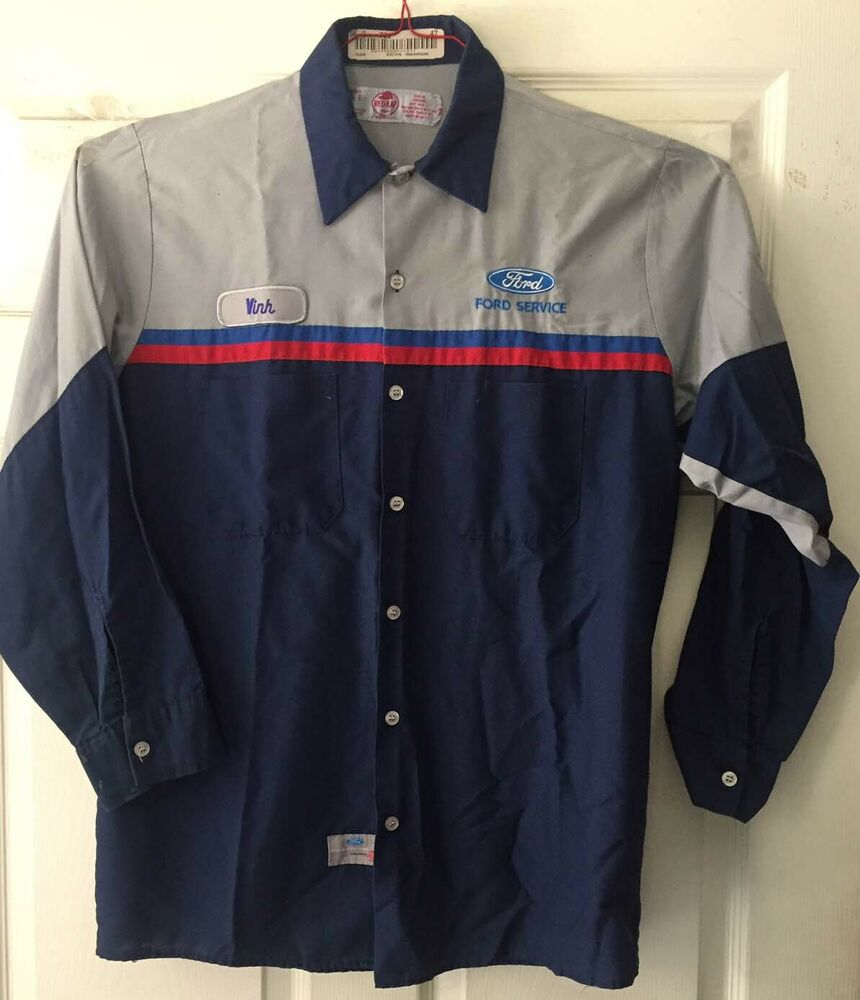 Red kap ford technician work shirt uniform mechanic short for Red kap mechanic shirts