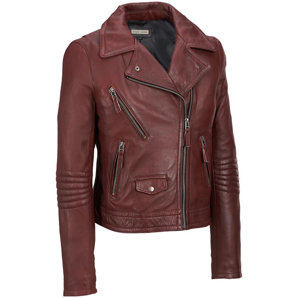 Black Rivet Womens Leather Motorcycle Jacket | eBay