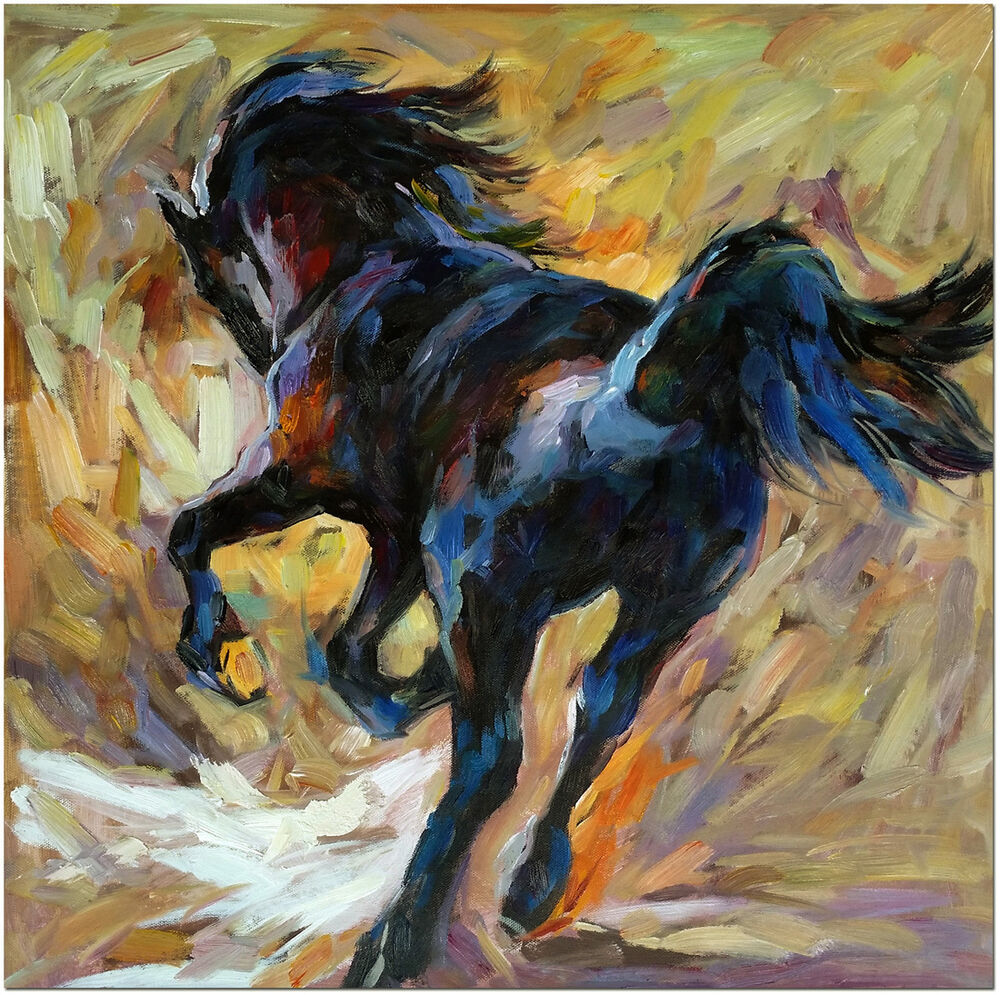 Hand painted abstract black horse oil painting 20x20 for Animal oil paintings