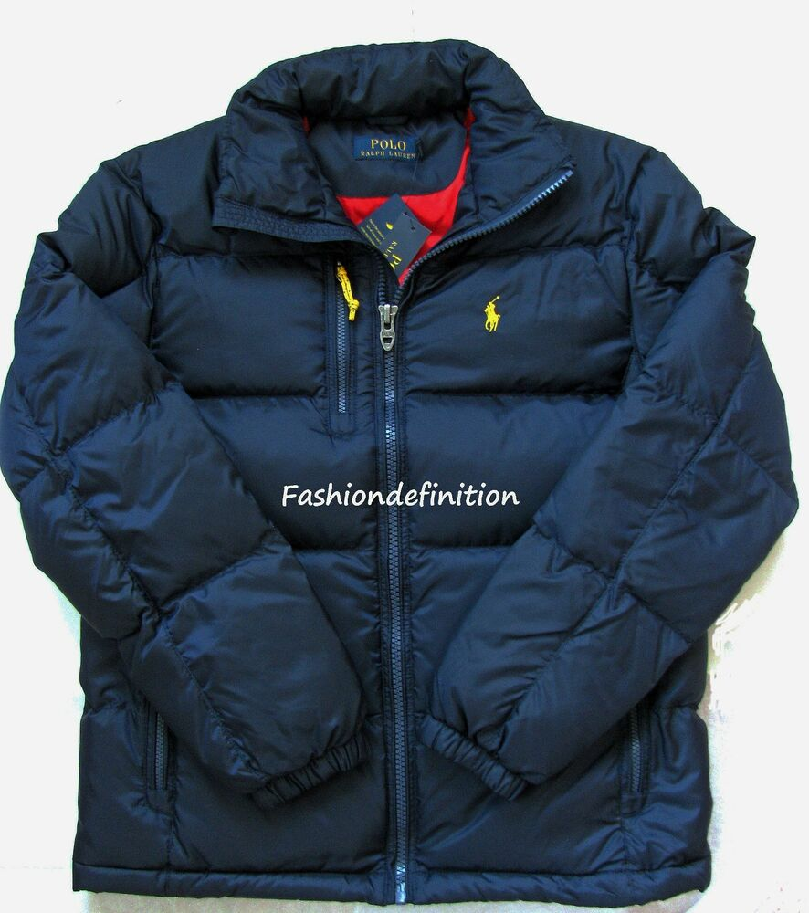 new polo ralph lauren men navy blue winter snow quilted trek puffer down jacket ebay. Black Bedroom Furniture Sets. Home Design Ideas