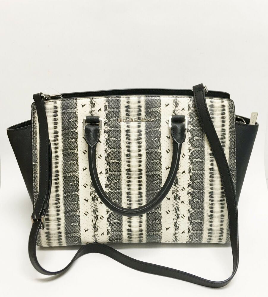 new michael kors selma large black white snake print leather rh ebay com