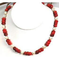 Classic Sea Red Coral & Natural White Pearl Silver Plated Necklace 18'' Fashion