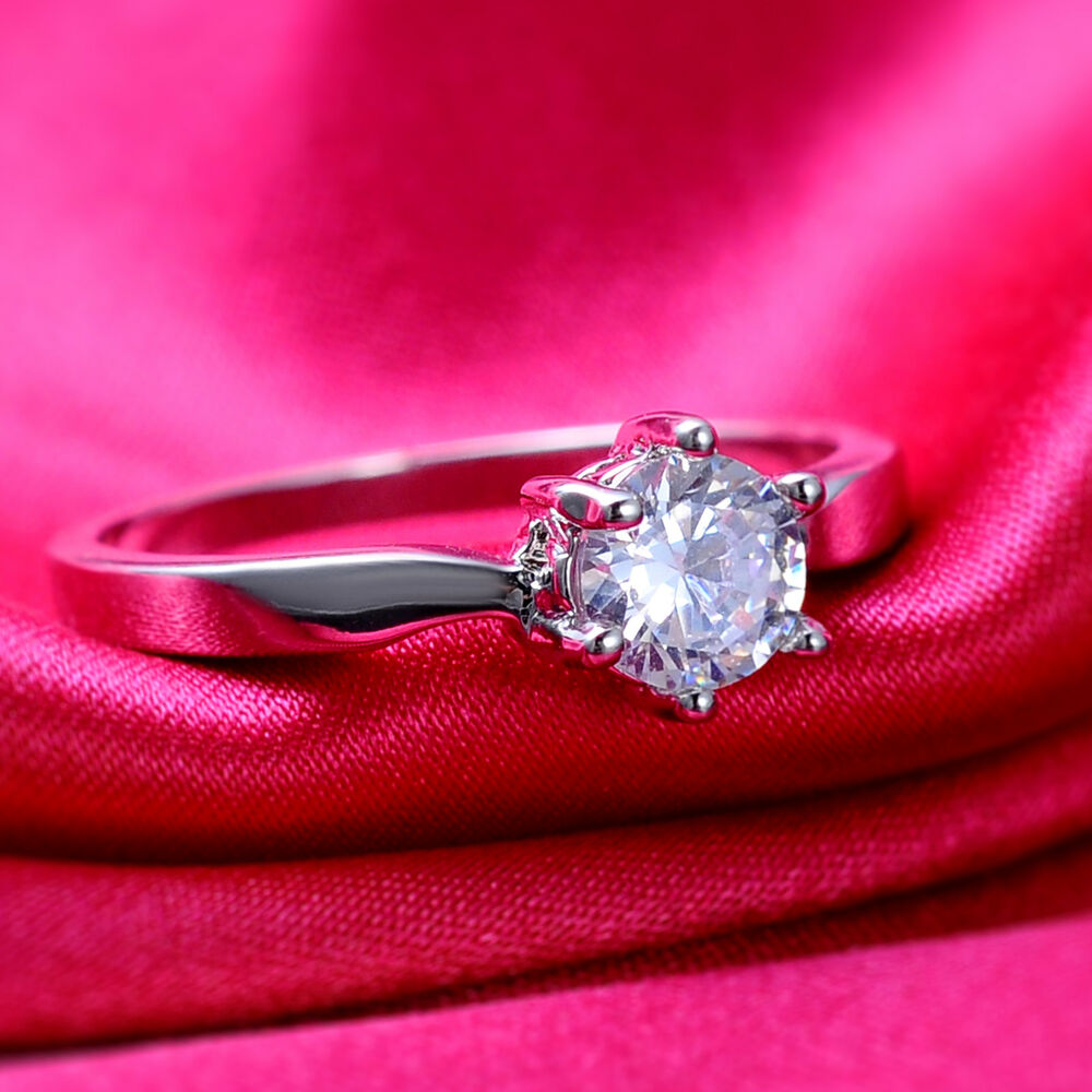 Fashion Jewelry White Sapphire 18K White Gold Filled Engagement Ring ...