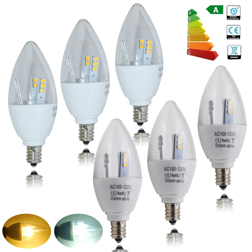 E12 Led Dimmable: 5pcs 5W E12 Candelabra LED Candle Light Bulbs Dimmable Non