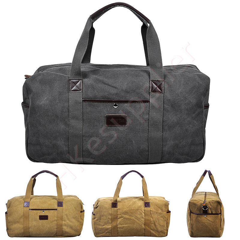 Mens Canvas Duffle Weekend Bag Lightweight Luggage Travel ...