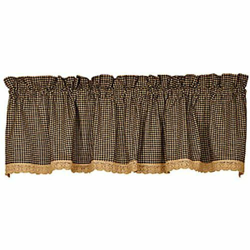 New Primitive Country Gingham Black Tan Check Lace Trim