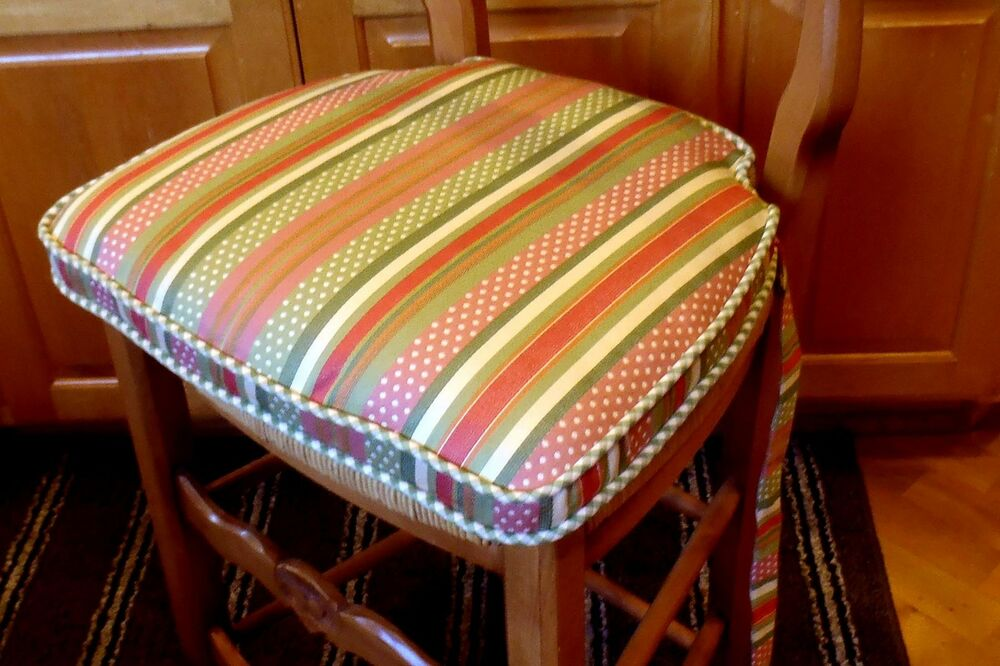 French country living chair pad dots stripes 6 pack ebay for Country garden 6 pack