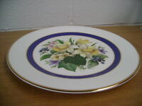 FENTON CHINA PLATE OF SPRING FLOWERS INSIDE A BLUE BAND