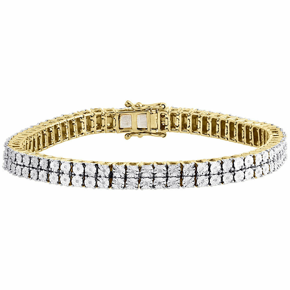 Mens Diamond 2 Row Tennis Link Bracelet Yellow Finish