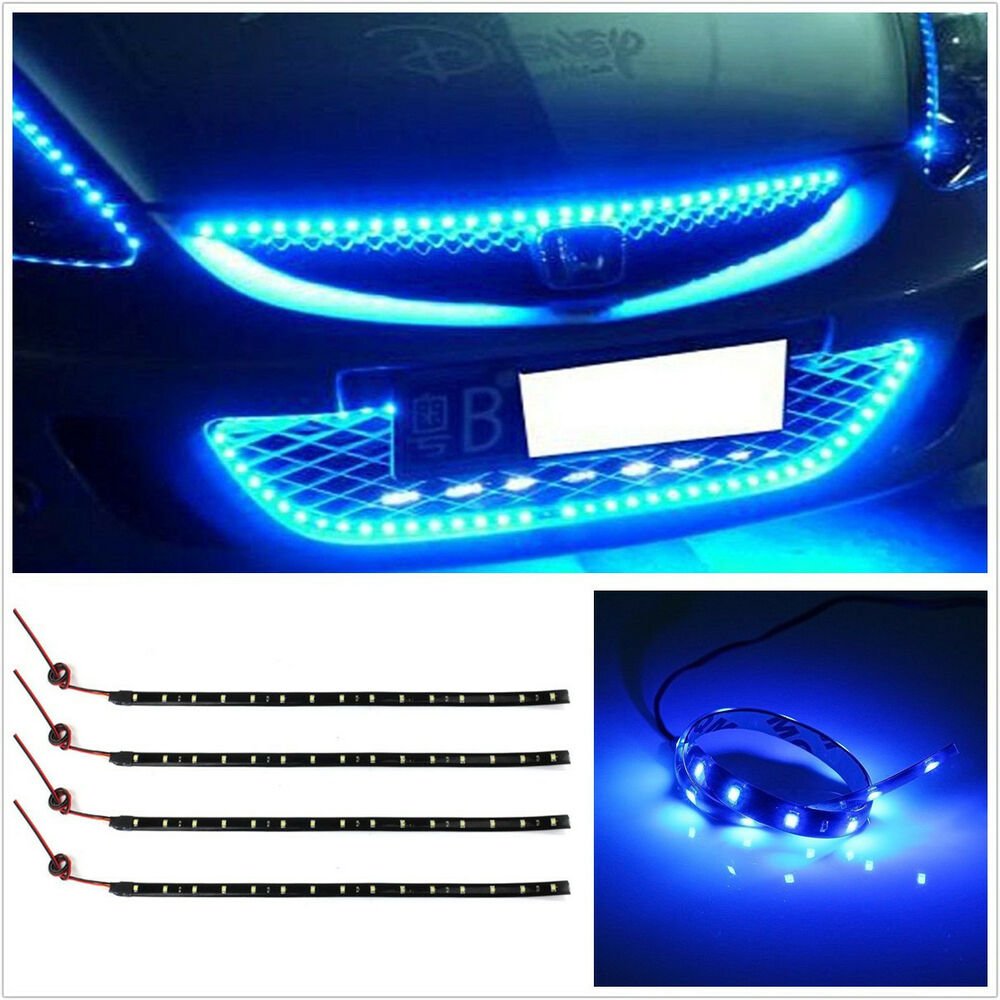 4 pcs flexible 12v blue 15led smd car interior footwell atmosphere lights strip ebay. Black Bedroom Furniture Sets. Home Design Ideas