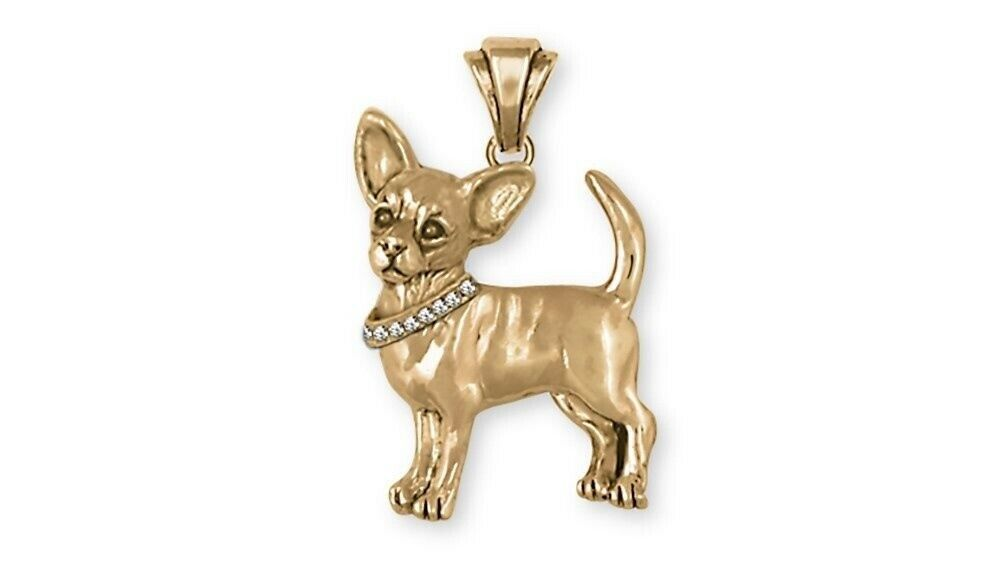 Chihuahua Dog Pendant 14k Yellow Gold Vermeil Dog Jewelry