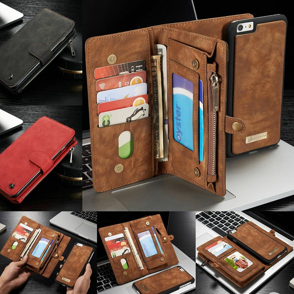 wallet for iphone 6 plus magnetic genuine leather removable wallet card cover 18167