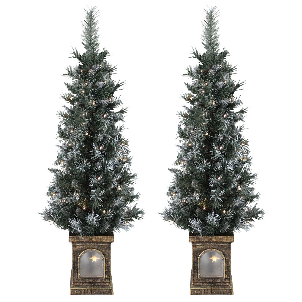 Ebay Christmas Tree: Set Of 2 Pre-Lit 4ft (120cm) Frosted Christmas Xmas