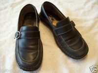 Born Black Leather Buckled Loafer Slip On Low Heel Walking Work Shoes Size 6 M