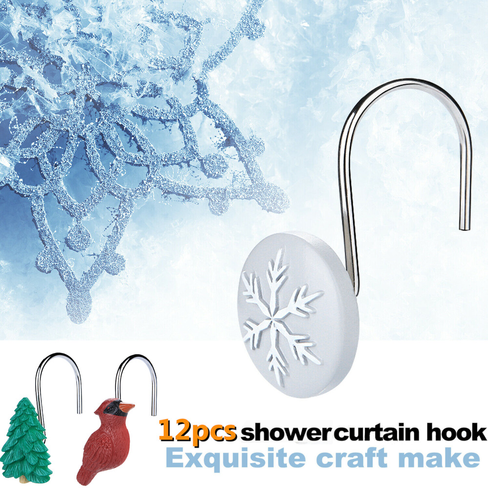 New 12 Pcs Fashion Decorative Home Bathroom Rose Shower Curtain Hooks Ebay