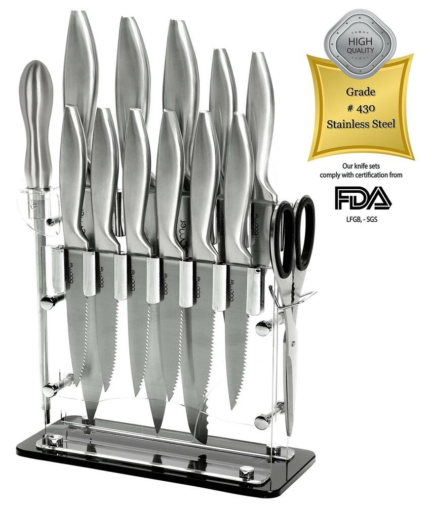 14 piece stainless steel cutlery professional kitchen knife block set 8 quo. Black Bedroom Furniture Sets. Home Design Ideas