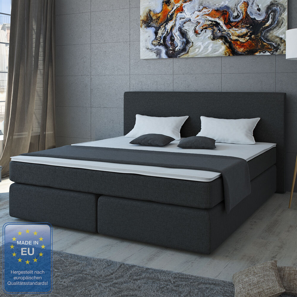 design boxspringbett bett hotelbett ehebett doppelbett schwarz 180x200 ebay. Black Bedroom Furniture Sets. Home Design Ideas