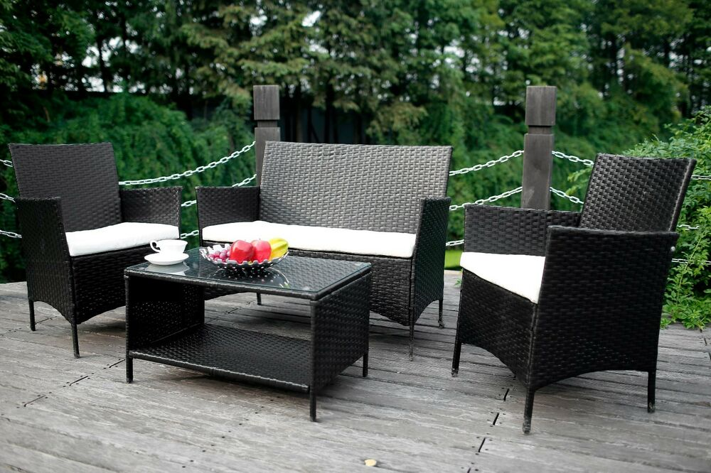 4pcs Outdoor Rattan Wicker Patio Set Garden Lawn Rattan