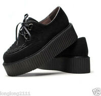 Women punk shoes Goth Faux Suede Lace Up Chunky High Platform Creeper wedge heel