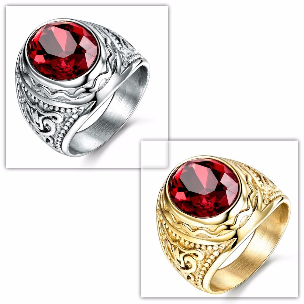 Silver Gold Tone Stainless Steel Red Garnet Ring Jewelry