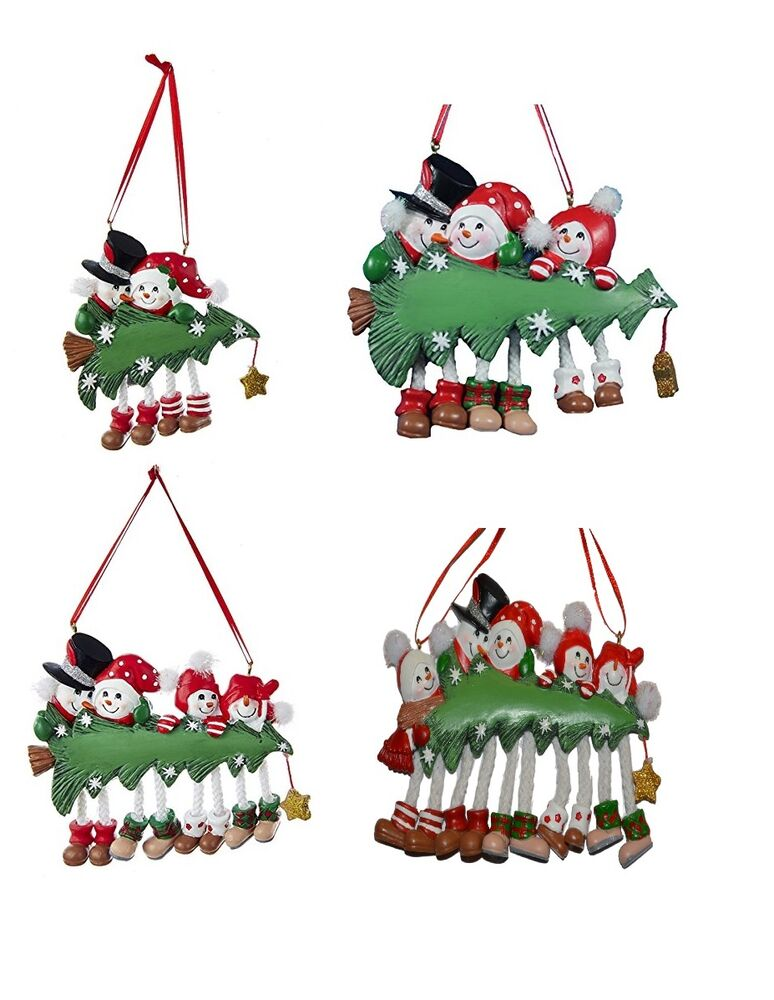 Snowtree snow tree family of 2 3 4 5 personalized for Family of 4 christmas ornament