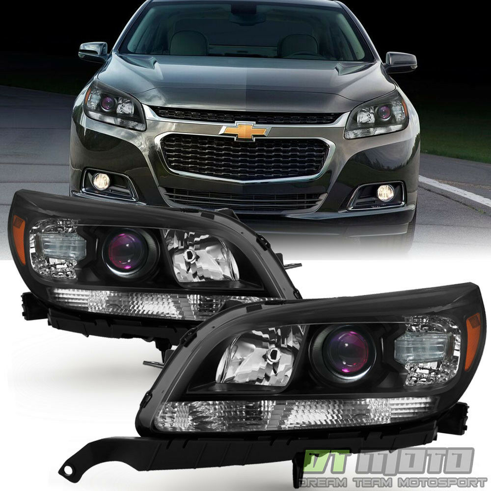 2013 Chevy Impala Ltz >> NEW [LEFT+RIGHT] 2013 2014 2015 Chevy Malibu Halogen Projector Headlights Black | eBay